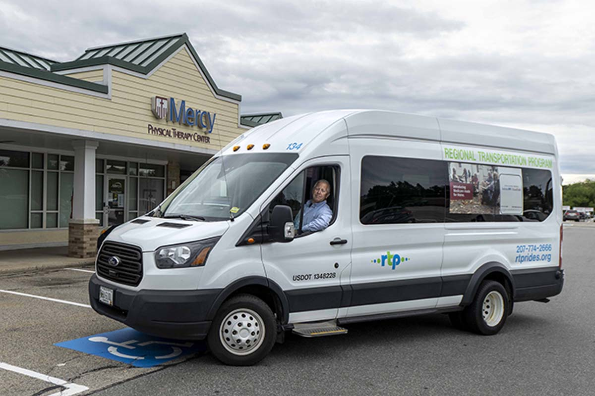Harold driving RTP van 134 at Mercy Physical Therapy