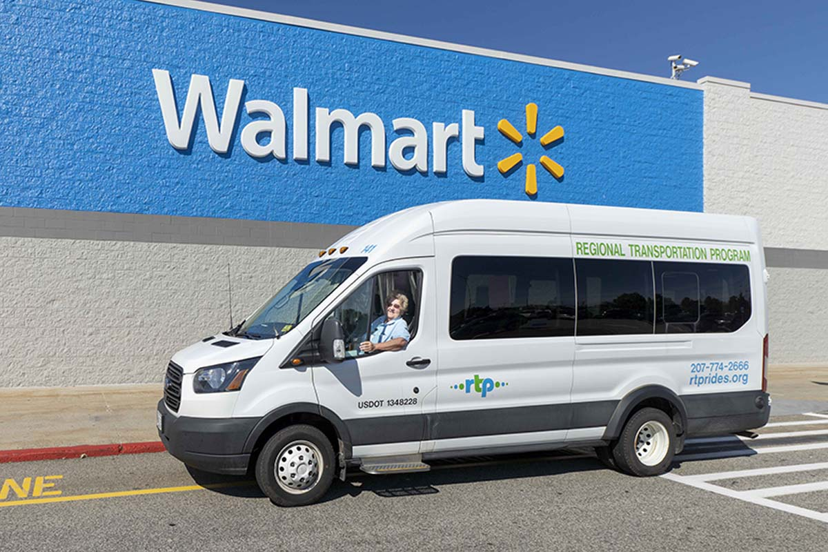Driver Dottie in RTP transit van at Windham Wal Mart