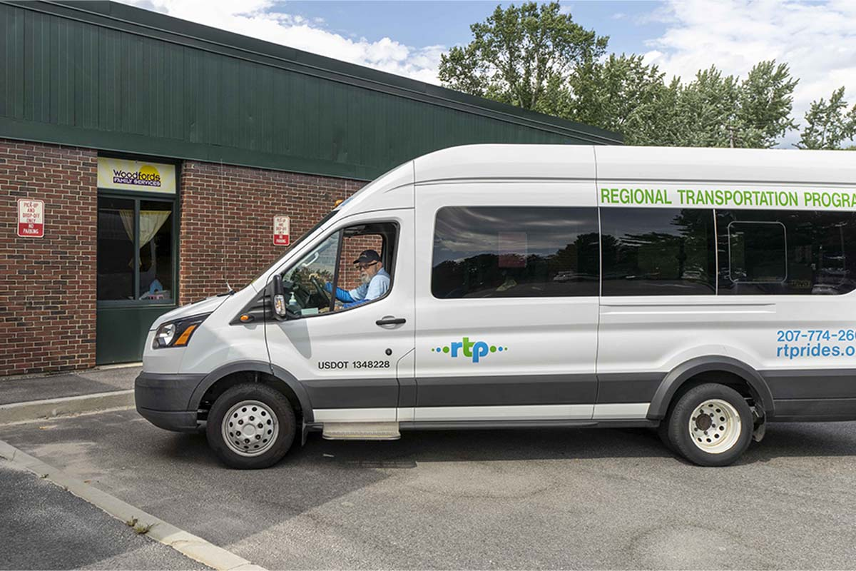 Driver Keith Peare in RTP transit van at Woodfords Family Services